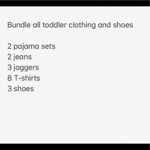 All toddler clothing listed that's Available!